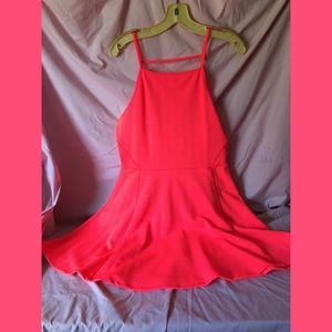 Neon coral pink knit sundress